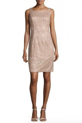 Rose Gold Metallic lace Sequin Dress