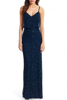 Sequin Embellished Blouson Gown Navy Ink blue