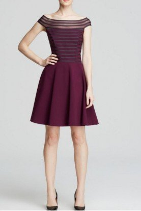 Catherine Malandrino Burgundy Cabernet Off Shoulder Fit and flare Dress