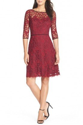 Illusion Lace Fit Flare Dress Red Black Burgundy