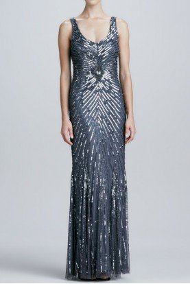 Aidan Mattox Gray Charcoal Chevron Sequined Beaded Gown dress