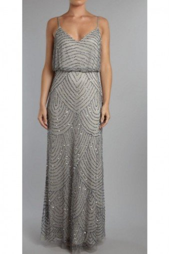 Adrianna Papell Art Deco Long Blouson Dress Slate Silver Petite