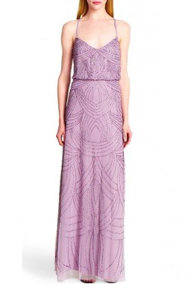 Dusty Orchid Pink Art Deco Beaded Blouson Gown
