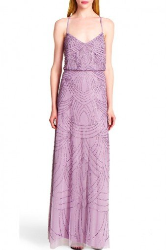 Adrianna Papell Dusty Orchid Pink Art Deco Beaded Blouson Gown
