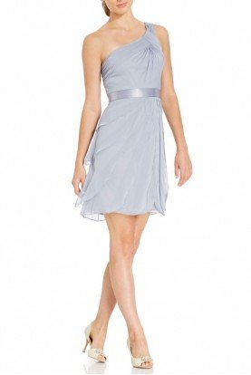 Adrianna Papell Gray Silver One-shoulder Tiered Chiffon Dress