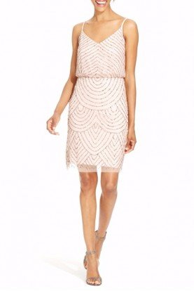 Adrianna Papell Blush Sequin Mesh Beaded Blouson Dress