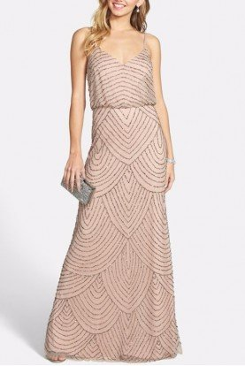 Taupe Pink Beaded Blouson Gown - Bridesmaid
