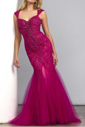 Mermaid beaded gown in cranberry 61758D