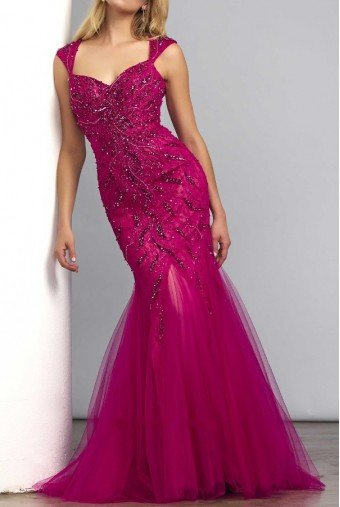 Mac Duggal Mermaid beaded gown in cranberry 61758D