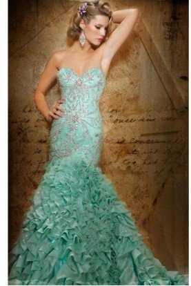Mac Duggal Sparkle Beaded Mermaid Gown Dress in Aqua 78455D