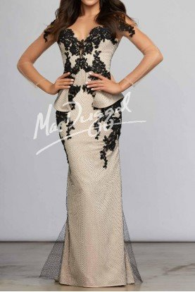 Sheer Long Sleeve Lace Gown in Black Nude 93515C