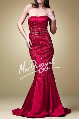Mac Duggal Deep Red Embellished Mermaid Gown Dress 78893