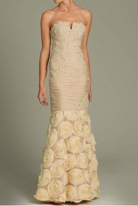 3867 Mermaid chiffon gown rossete applique in champagne