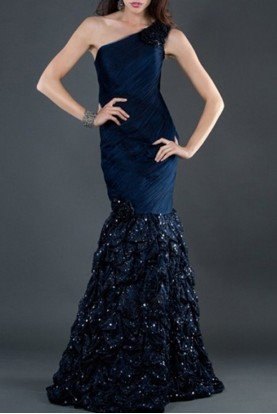 Navy Blue Beaded Mermaid One Shoulder Gown Dress 5135