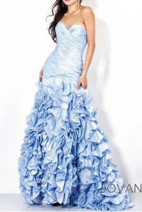 Strapless sweetheart gown dress sky blue 7361