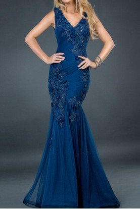Navy blue mermaid beaded lace applique gown dress 72738