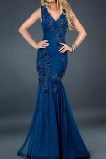 Jovani Navy blue mermaid beaded lace applique gown dress 72738