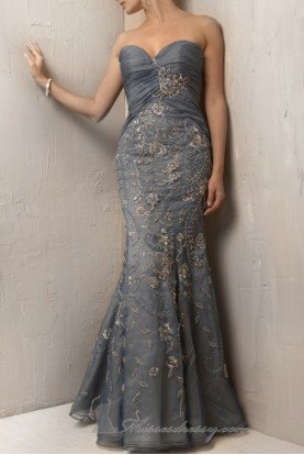 Lace Applique Mermaid Tulle Gown Dress Blue Nude 171569