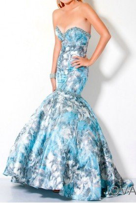 Mermaid Light Blue Floral Gown Dress 173325