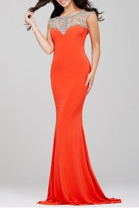 Jovani Orange Fitted Evening Gown Dress 24222