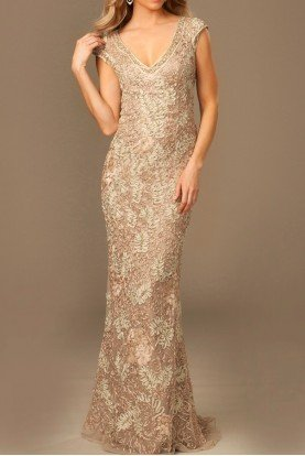 Cap Sleeves Deep V-Neck Embroidered Sheath 77722