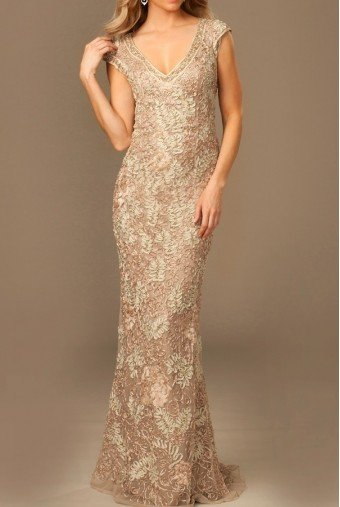 Jovani Cap Sleeves Deep V-Neck Embroidered Sheath 77722