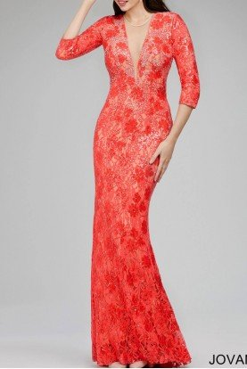Jovani Long Sleeve Lace Dress Gown 26541 in Coral