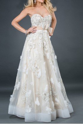 2934 IVORY NUDE WEDDING PAGENT BOHO STYLE GOWN Dress