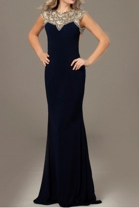 NAVY CAP SLEEVE HIGH NECK OPEN BACK GOWN 23102