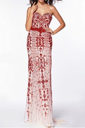 51095 Beaded Strapless Sweetheart Train Dress Gown Red