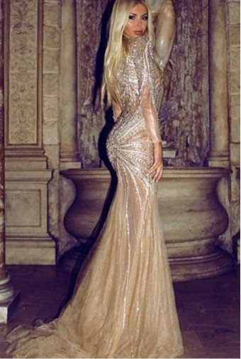 Terani Couture GL3437 Long sleeve beaded evening dress gold