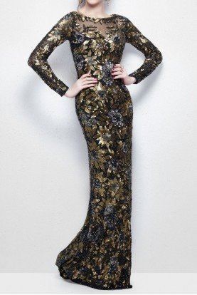 1401 Sequined Long Sleeve Beaded Black Gold Gown