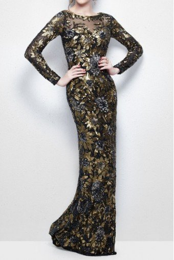 Primavera Couture 1401 Sequined Long Sleeve Beaded Black Gold Gown