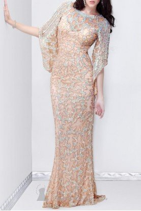 9713 LONG SLEEVE BEADED GOWN IN NUDE
