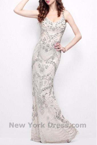 Primavera Couture NUDE GOWN GREAT GATSBY HAND BEADED 1402