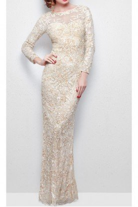 NUDE LONG SLEEVE BEADED Dress GOWN  1401