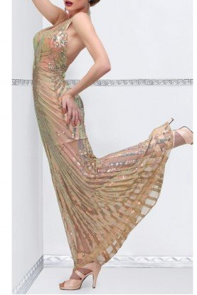 Champagne Open back sequin evening dress 9801 Art Deco