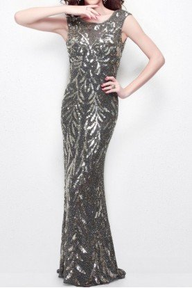Primavera EMBELLISHED BEADED GOWN IN CHARCOAL 1578