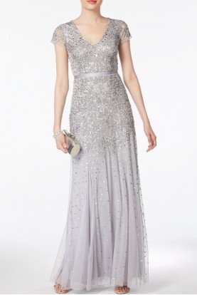 Silver Cap Sleeve Embellished Beaded Dress Gown