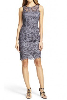 Illusion Lace Sheath Dress Charcoal