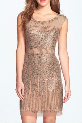 Illusion Nude Metallic Beaded Sheath Dress