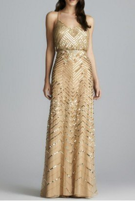 Gold chevron beaded blouson gown dress