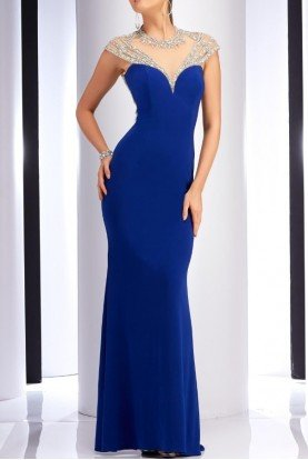 Cap Sleeve Royal Blue Sparkling Gown 2836