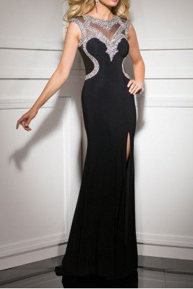 2637 Sweetheart Encrusted Black Evening Gown