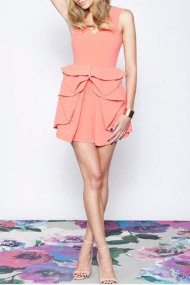 Keepsake Coral Matter of Time Short Party Dress