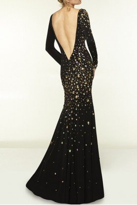 Black Long Sleeve Open Back Dress  Gown 97070