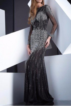 Black Diamond Encrusted Long Sleeve Dress Gown
