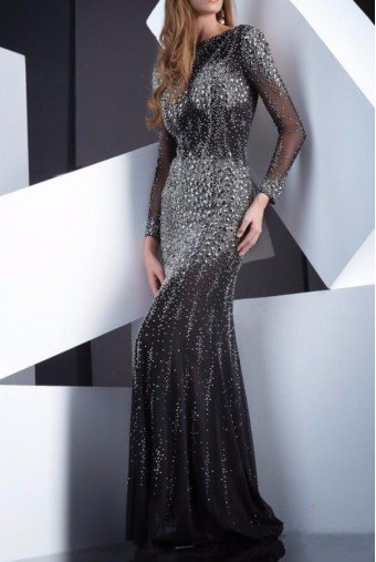 Jasz Couture Black Diamond Encrusted Long Sleeve Dress Gown