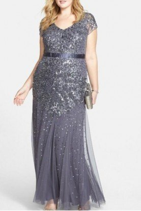 Beaded Sparkle Gunmetal Evening Dress Gown Plus Size