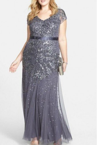 Adrianna Papell Beaded Gunmetal Evening Dress Gown Plus Size